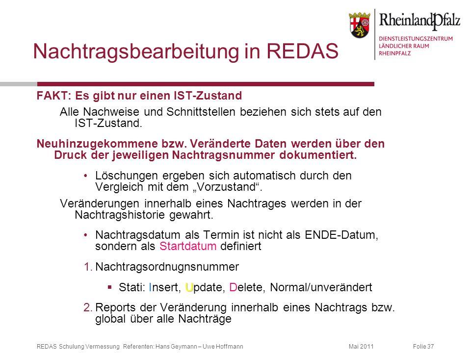 Folie 37Mai 2011REDAS Schulung Vermessung Referenten: Hans Geymann – Uwe Hoffmann Nachtragsbearbeitung in REDAS FAKT: Es gibt nur einen IST-Zustand Al
