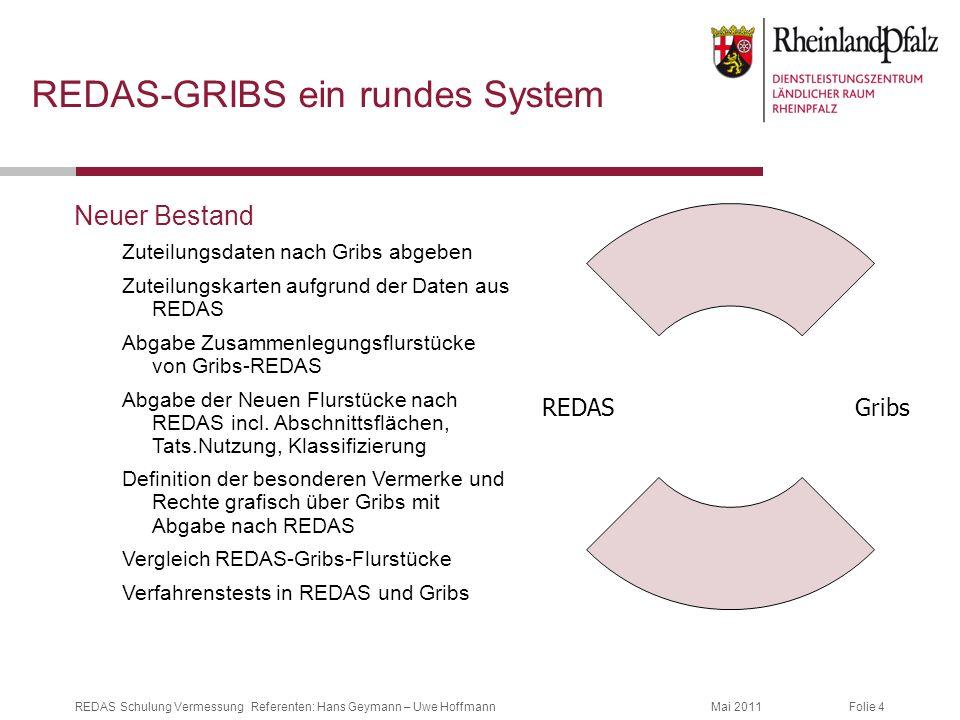 Folie 4Mai 2011REDAS Schulung Vermessung Referenten: Hans Geymann – Uwe Hoffmann REDAS-GRIBS ein rundes System Neuer Bestand Zuteilungsdaten nach Grib