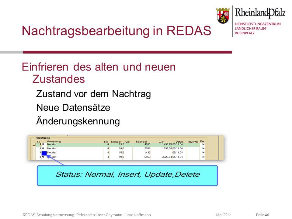 Folie 40Mai 2011REDAS Schulung Vermessung Referenten: Hans Geymann – Uwe Hoffmann Nachtragsbearbeitung in REDAS Einfrieren des alten und neuen Zustand