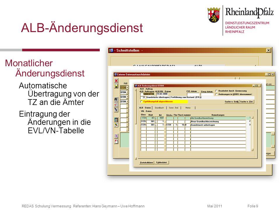 Folie 9Mai 2011REDAS Schulung Vermessung Referenten: Hans Geymann – Uwe Hoffmann ALB-Änderungsdienst Monatlicher Änderungsdienst Automatische Übertrag
