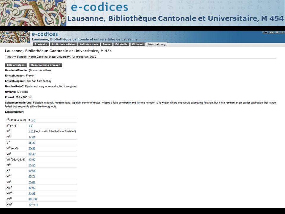 Lausanne, Bibliothèque Cantonale et Universitaire, M 454