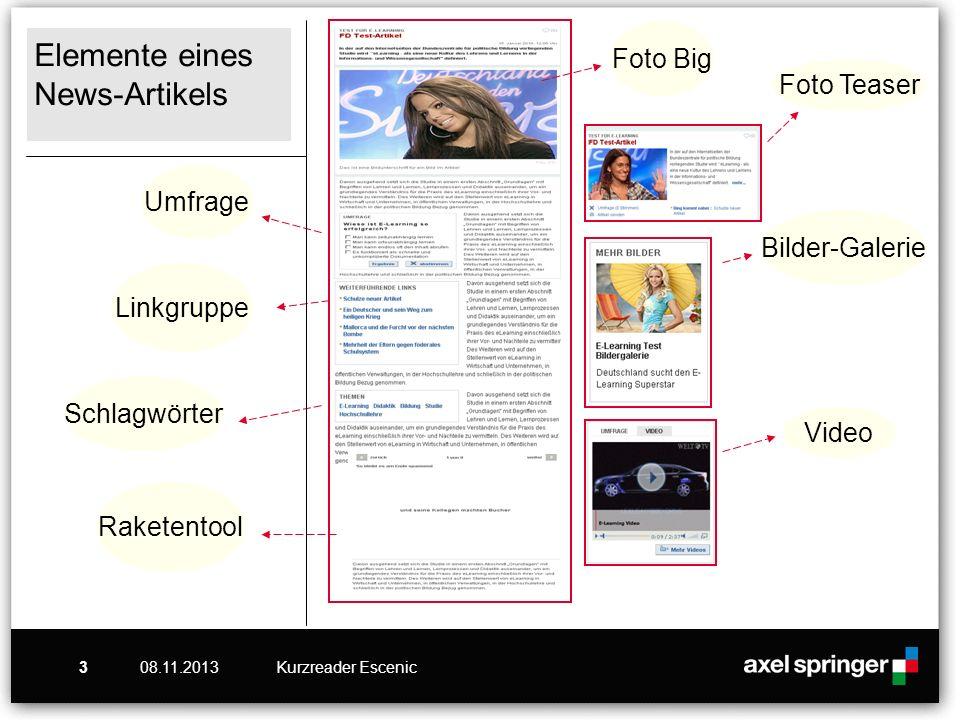 08.11.2013Kurzreader Escenic4 News-Artikel anlegen Klicken Sie auf den ReiterArtikel.