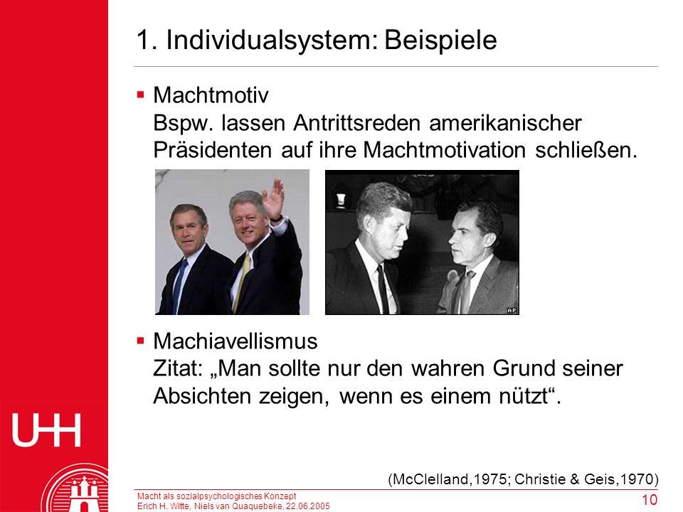 Macht als sozialpsychologisches Konzept Erich H. Witte, Niels van Quaquebeke, 22.06.2005 10 1. Individualsystem: Beispiele Machtmotiv Bspw. lassen Ant