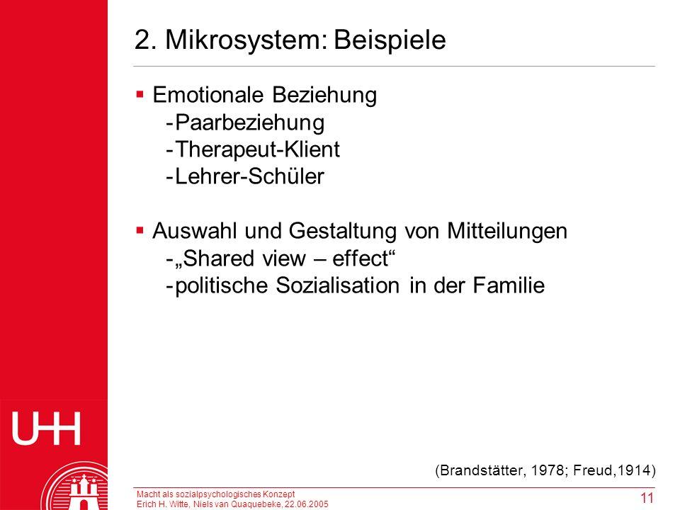Macht als sozialpsychologisches Konzept Erich H. Witte, Niels van Quaquebeke, 22.06.2005 11 2. Mikrosystem: Beispiele Emotionale Beziehung -Paarbezieh