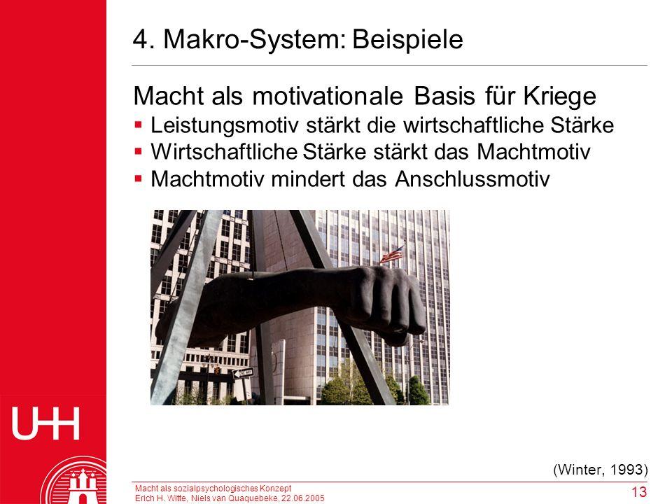Macht als sozialpsychologisches Konzept Erich H. Witte, Niels van Quaquebeke, 22.06.2005 13 4. Makro-System: Beispiele Macht als motivationale Basis f