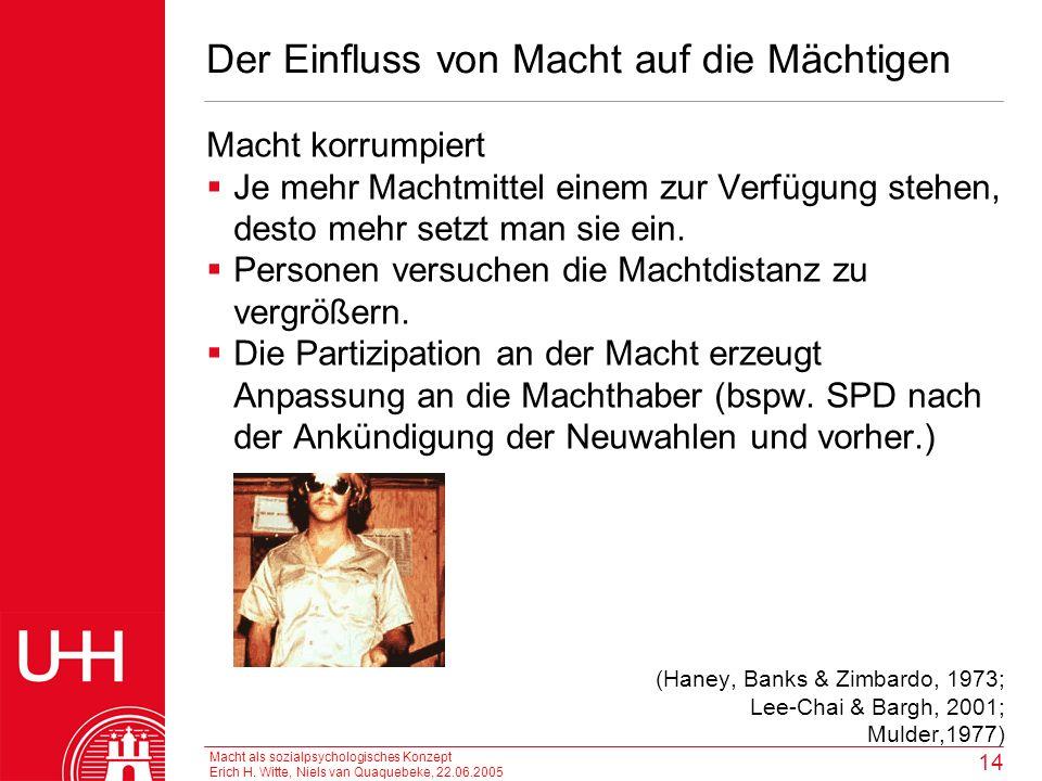 Macht als sozialpsychologisches Konzept Erich H. Witte, Niels van Quaquebeke, 22.06.2005 14 Der Einfluss von Macht auf die Mächtigen Macht korrumpiert