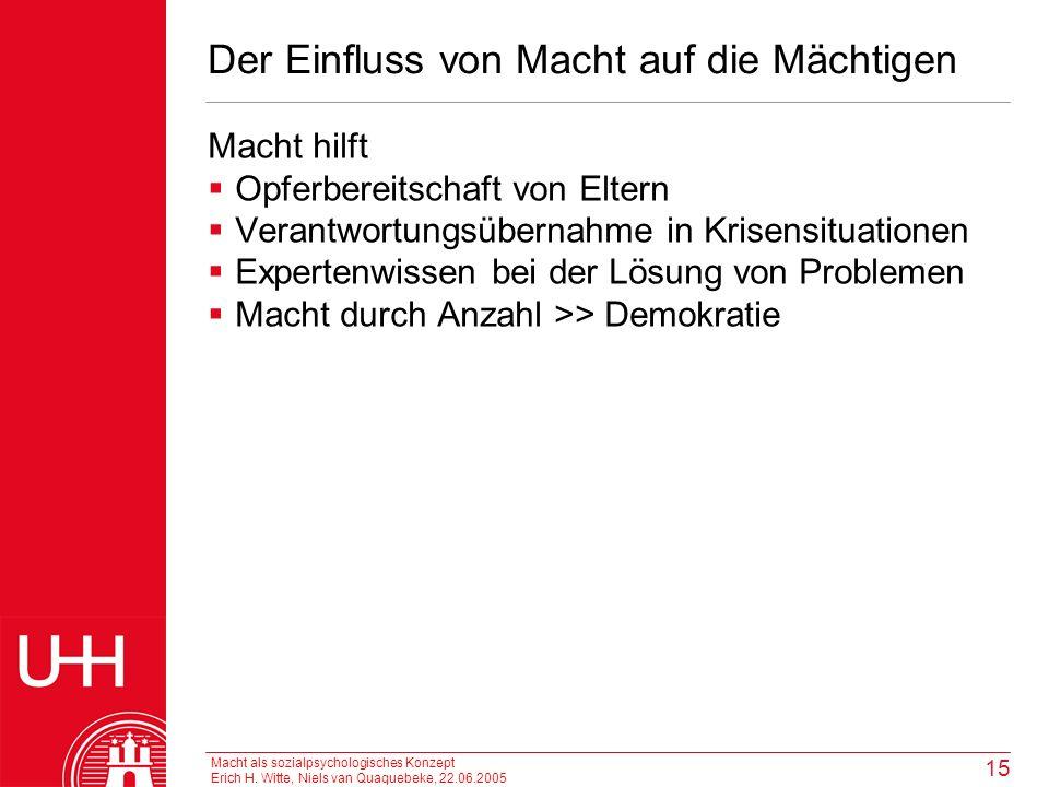 Macht als sozialpsychologisches Konzept Erich H. Witte, Niels van Quaquebeke, 22.06.2005 15 Der Einfluss von Macht auf die Mächtigen Macht hilft Opfer