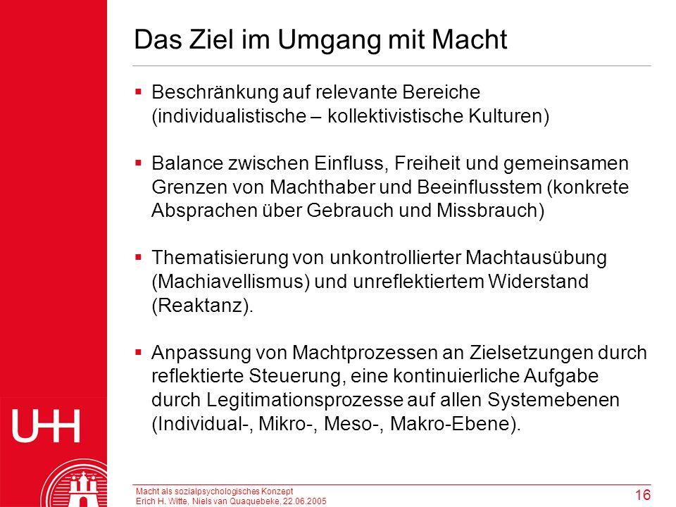 Macht als sozialpsychologisches Konzept Erich H. Witte, Niels van Quaquebeke, 22.06.2005 16 Das Ziel im Umgang mit Macht Beschränkung auf relevante Be
