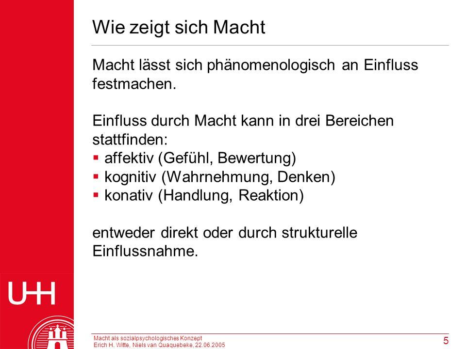 Macht als sozialpsychologisches Konzept Erich H. Witte, Niels van Quaquebeke, 22.06.2005 5 Wie zeigt sich Macht Macht lässt sich phänomenologisch an E