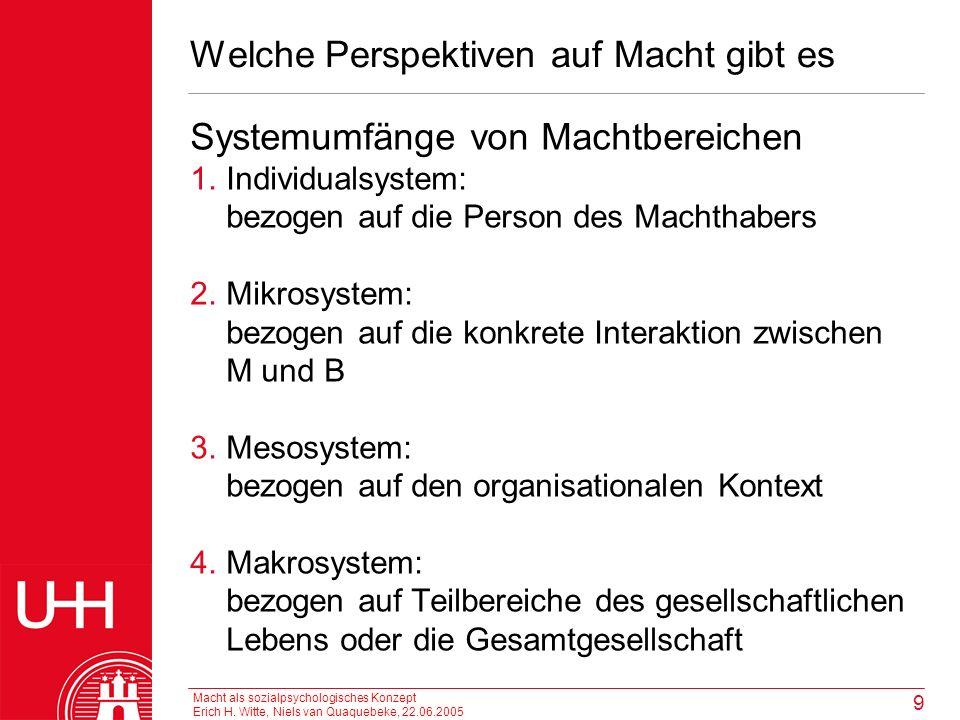 Macht als sozialpsychologisches Konzept Erich H. Witte, Niels van Quaquebeke, 22.06.2005 9 Welche Perspektiven auf Macht gibt es Systemumfänge von Mac
