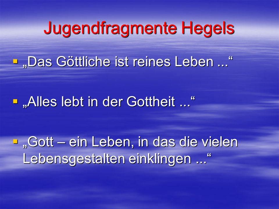 Jugendfragmente Hegels Das Göttliche ist reines Leben... Das Göttliche ist reines Leben... Alles lebt in der Gottheit... Alles lebt in der Gottheit...