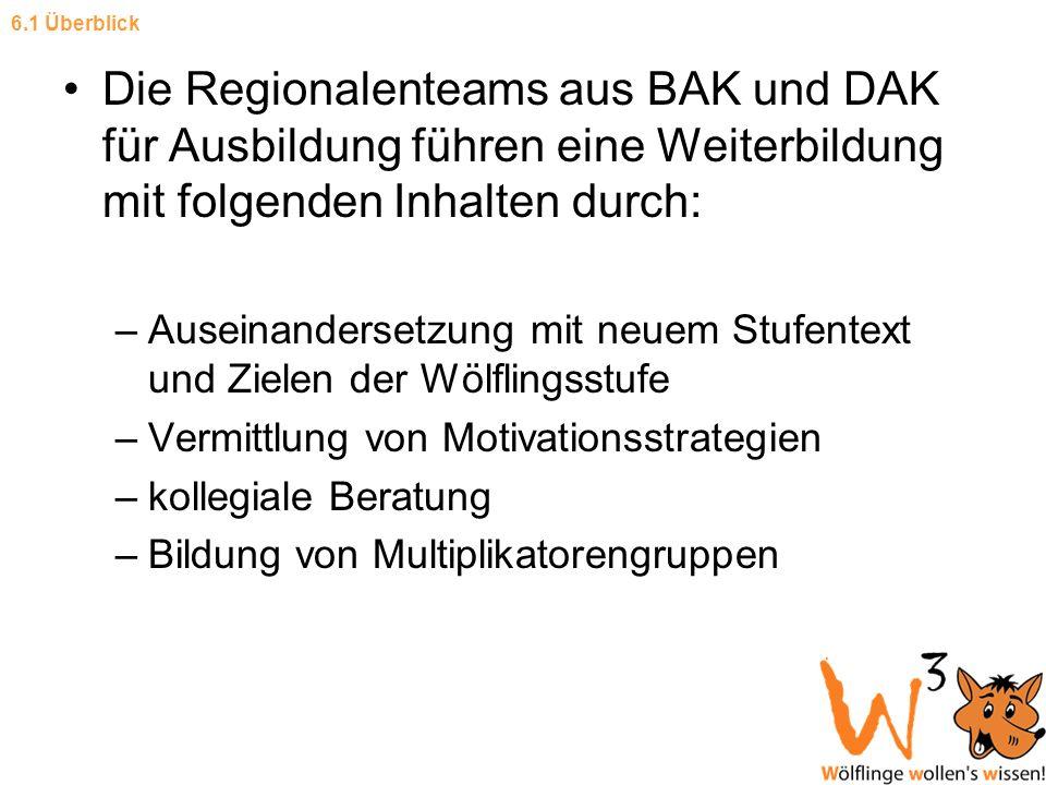 Die Regionalenteams aus BAK und DAK für Ausbildung führen eine Weiterbildung mit folgenden Inhalten durch: –Auseinandersetzung mit neuem Stufentext un