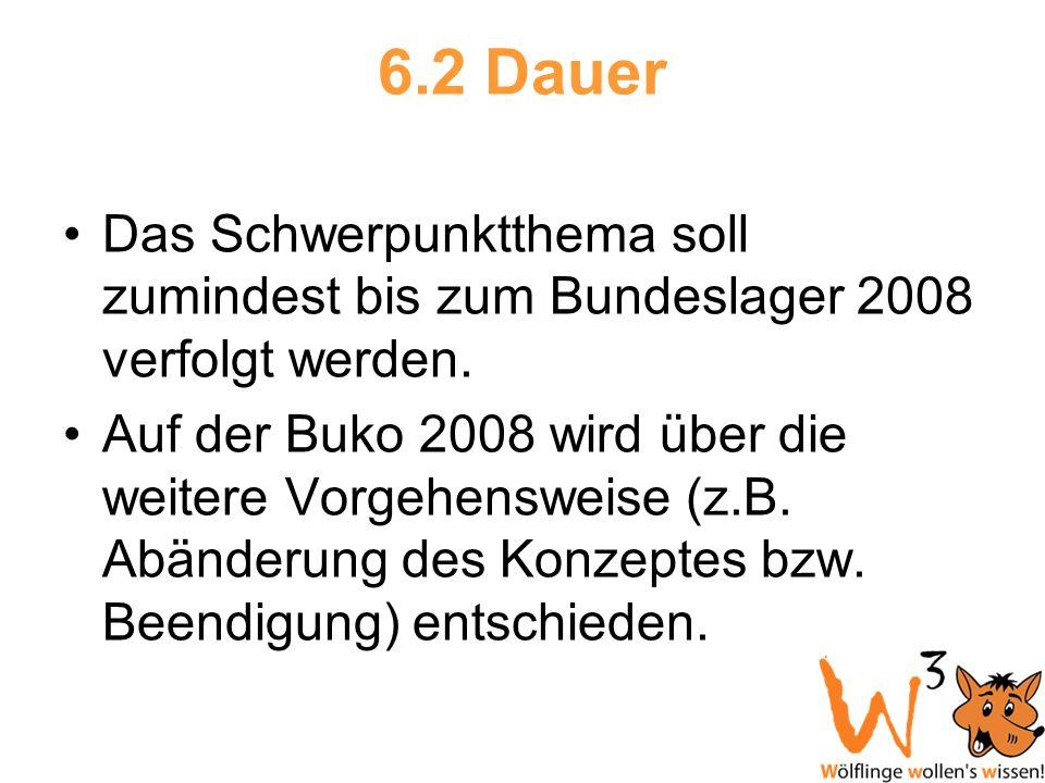 6.2 Dauer Das Schwerpunktthema soll zumindest bis zum Bundeslager 2008 verfolgt werden. Auf der Buko 2008 wird über die weitere Vorgehensweise (z.B. A