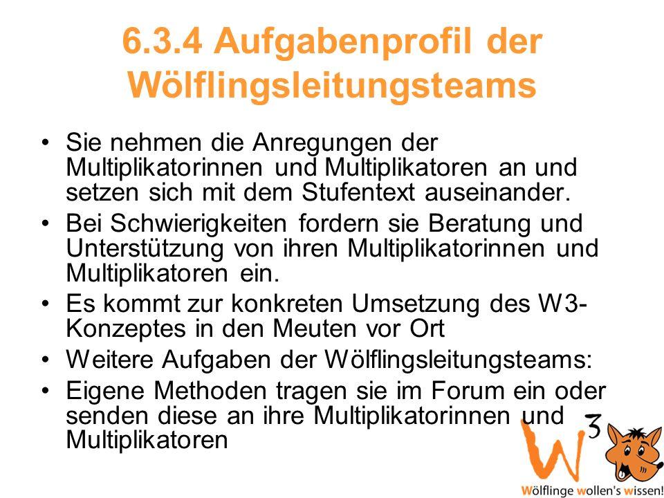 6.3.4 Aufgabenprofil der Wölflingsleitungsteams Sie nehmen die Anregungen der Multiplikatorinnen und Multiplikatoren an und setzen sich mit dem Stufen