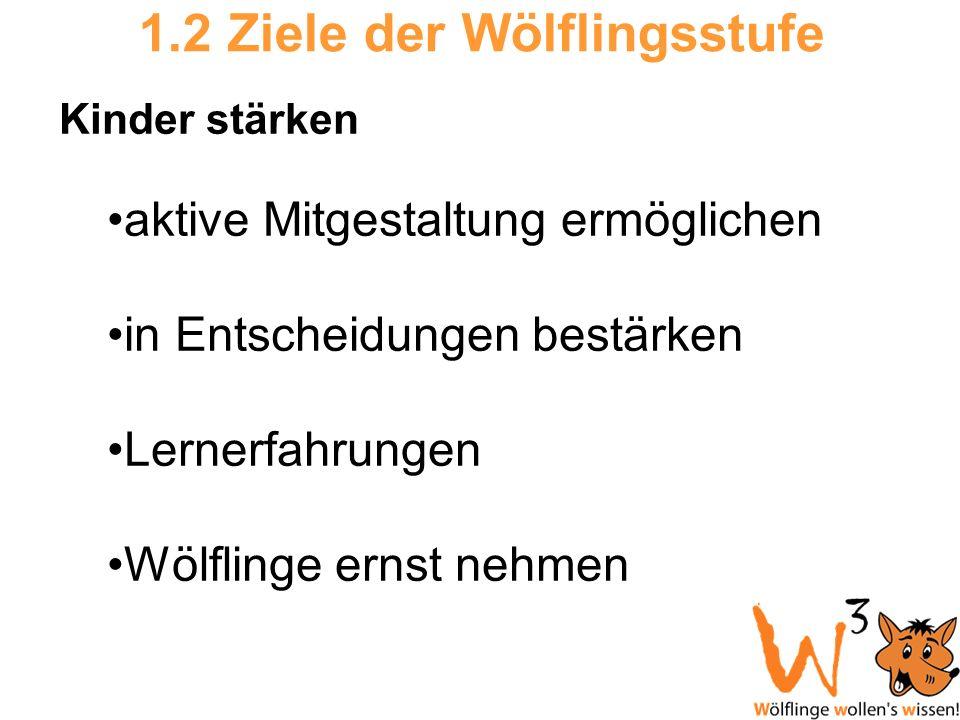 1.2 Ziele der Wölflingsstufe Kinder stärken aktive Mitgestaltung ermöglichen in Entscheidungen bestärken Lernerfahrungen Wölflinge ernst nehmen