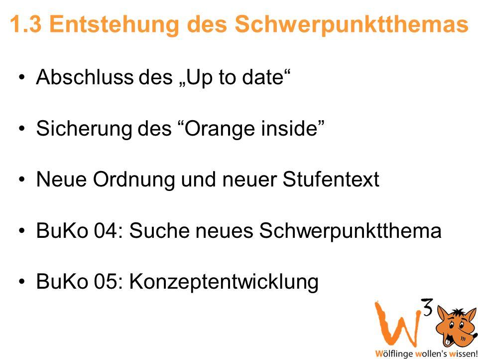 1.3 Entstehung des Schwerpunktthemas Abschluss des Up to date Sicherung des Orange inside Neue Ordnung und neuer Stufentext BuKo 04: Suche neues Schwe