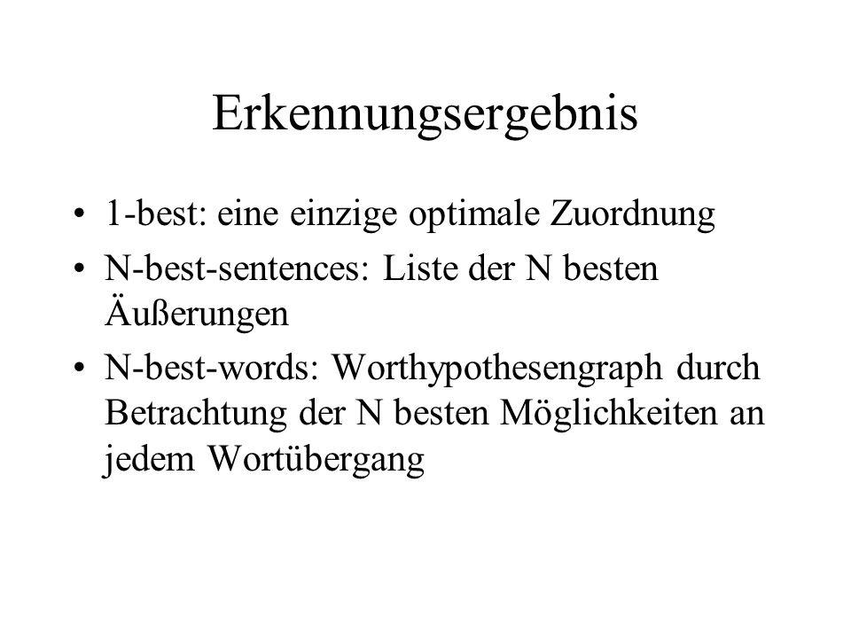 Erkennungsergebnis 1-best: eine einzige optimale Zuordnung N-best-sentences: Liste der N besten Äußerungen N-best-words: Worthypothesengraph durch Betrachtung der N besten Möglichkeiten an jedem Wortübergang