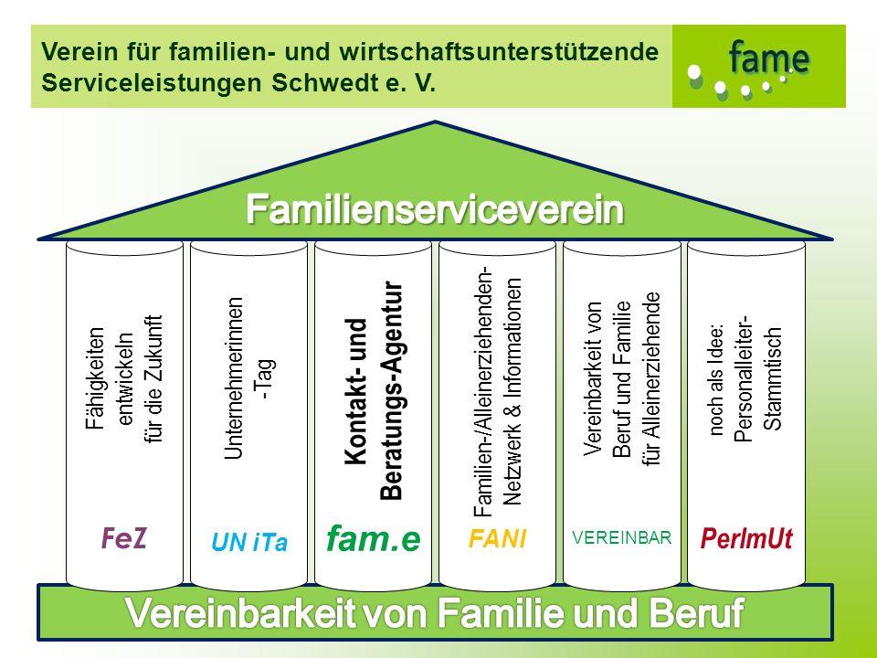 Verein für familien- und wirtschaftsunterstützende Serviceleistungen Schwedt e. V. Fähigkeiten entwickeln für die Zukunft FeZ Unternehmerinnen -Tag UN