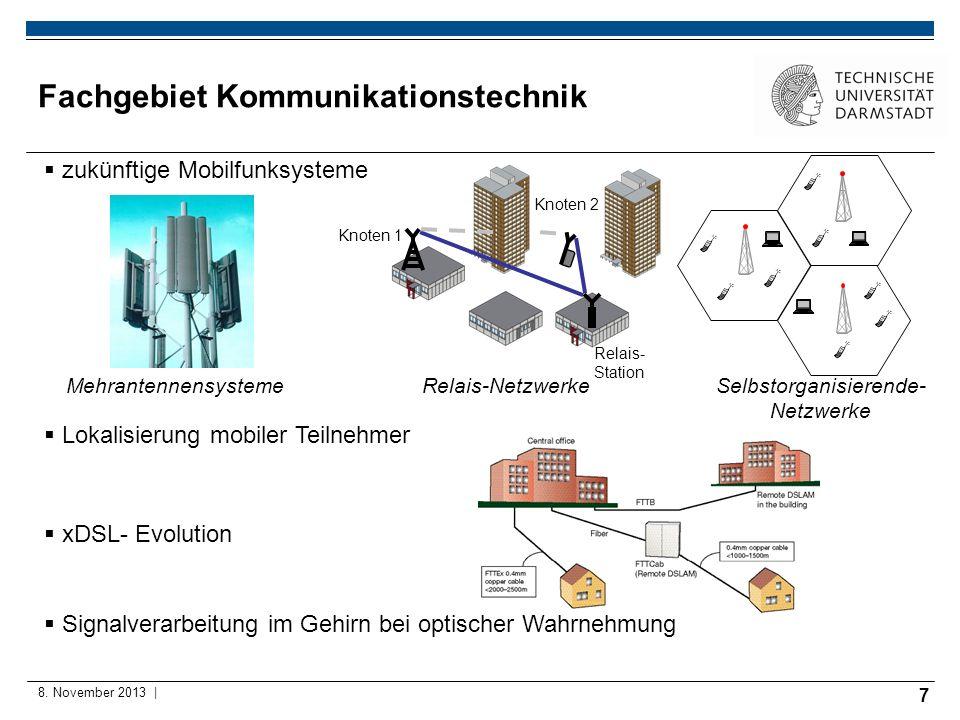 7 8. November 2013 | Fachgebiet Kommunikationstechnik zukünftige Mobilfunksysteme Relais- Station Knoten 2 Knoten 1 MehrantennensystemeRelais-Netzwerk