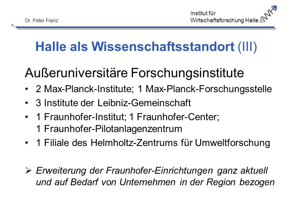 Institut für Wirtschaftsforschung Halle Dr. Peter Franz Halle als Wissenschaftsstandort (III) Außeruniversitäre Forschungsinstitute 2 Max-Planck-Insti