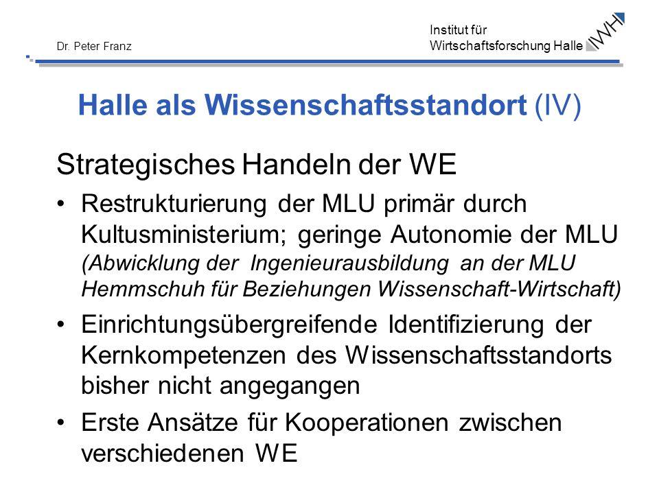 Institut für Wirtschaftsforschung Halle Dr. Peter Franz Halle als Wissenschaftsstandort (IV) Strategisches Handeln der WE Restrukturierung der MLU pri
