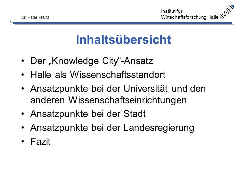 Institut für Wirtschaftsforschung Halle Dr. Peter Franz Inhaltsübersicht Der Knowledge City-Ansatz Halle als Wissenschaftsstandort Ansatzpunkte bei de