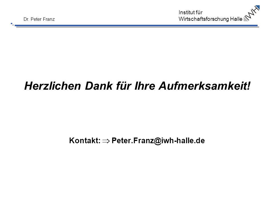 Institut für Wirtschaftsforschung Halle Dr. Peter Franz Herzlichen Dank für Ihre Aufmerksamkeit! Kontakt: Peter.Franz@iwh-halle.de