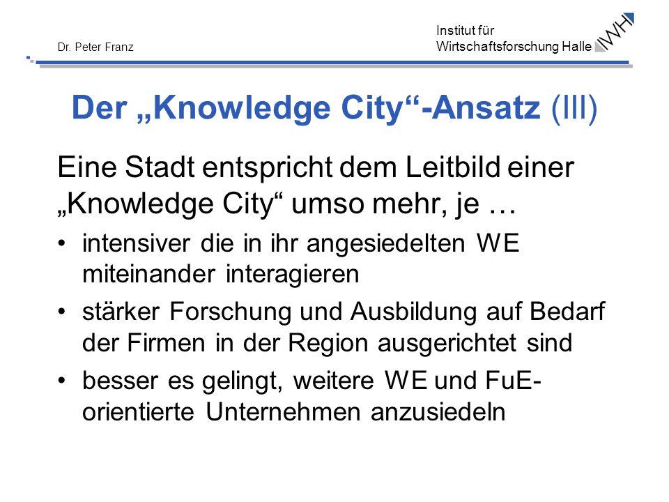 Institut für Wirtschaftsforschung Halle Dr. Peter Franz Der Knowledge City-Ansatz (III) Eine Stadt entspricht dem Leitbild einer Knowledge City umso m