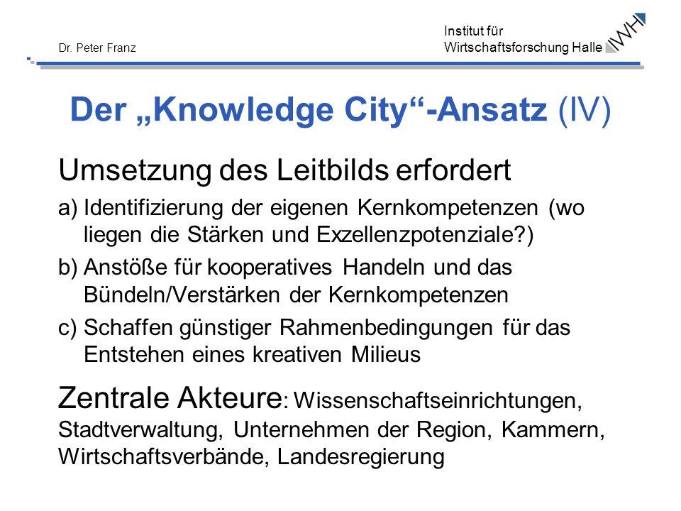 Institut für Wirtschaftsforschung Halle Dr. Peter Franz Der Knowledge City-Ansatz (IV) Umsetzung des Leitbilds erfordert a)Identifizierung der eigenen