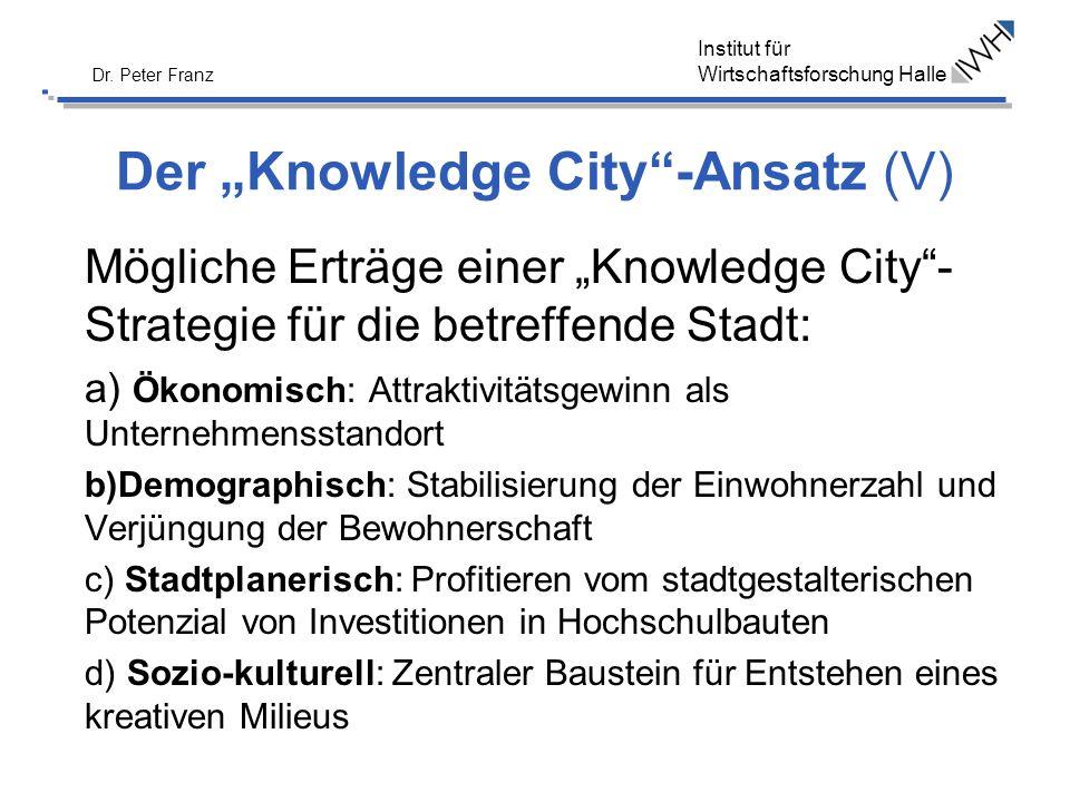 Institut für Wirtschaftsforschung Halle Dr. Peter Franz Der Knowledge City-Ansatz (V) Mögliche Erträge einer Knowledge City- Strategie für die betreff