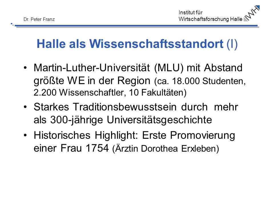 Institut für Wirtschaftsforschung Halle Dr. Peter Franz Halle als Wissenschaftsstandort (I) Martin-Luther-Universität (MLU) mit Abstand größte WE in d
