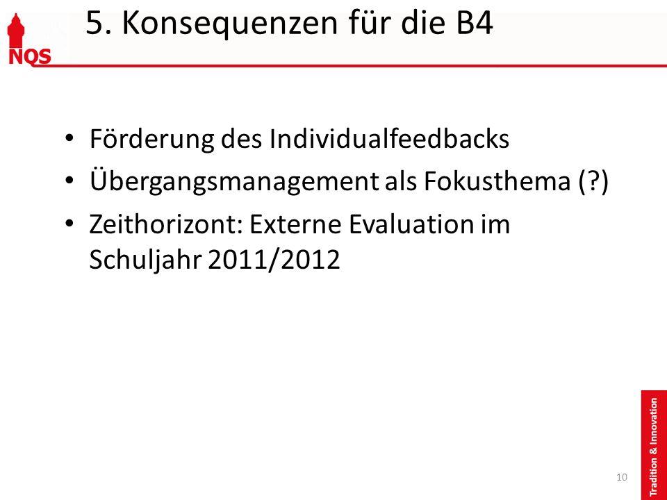 5. Konsequenzen für die B4 Förderung des Individualfeedbacks Übergangsmanagement als Fokusthema (?) Zeithorizont: Externe Evaluation im Schuljahr 2011