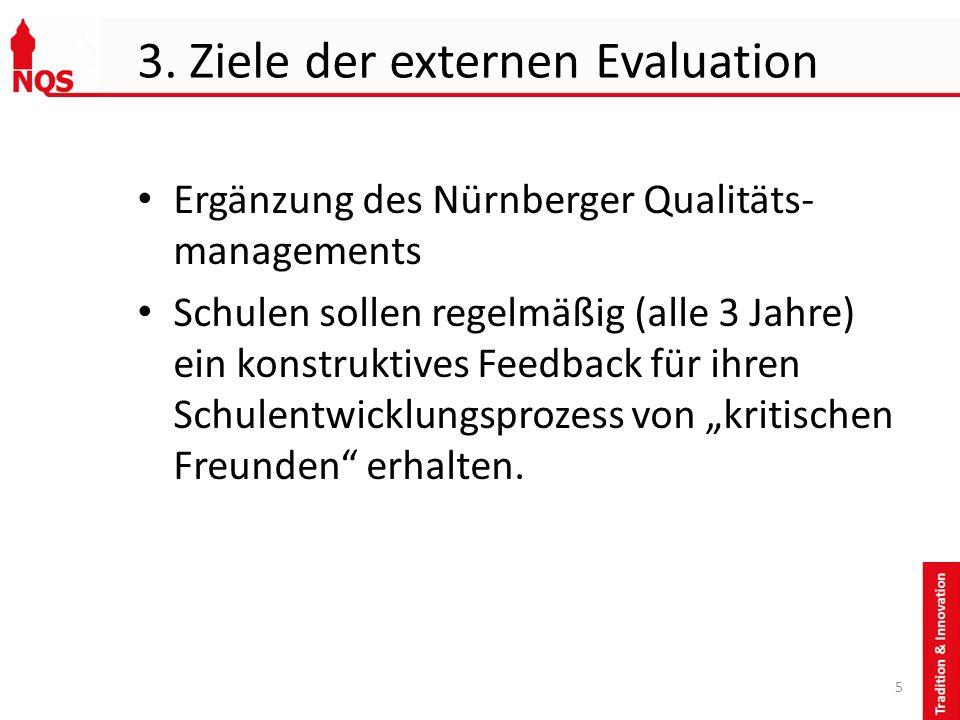 3. Ziele der externen Evaluation Ergänzung des Nürnberger Qualitäts- managements Schulen sollen regelmäßig (alle 3 Jahre) ein konstruktives Feedback f