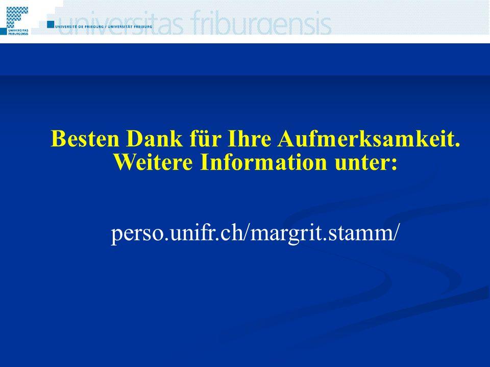 Besten Dank für Ihre Aufmerksamkeit. Weitere Information unter: perso.unifr.ch/margrit.stamm/