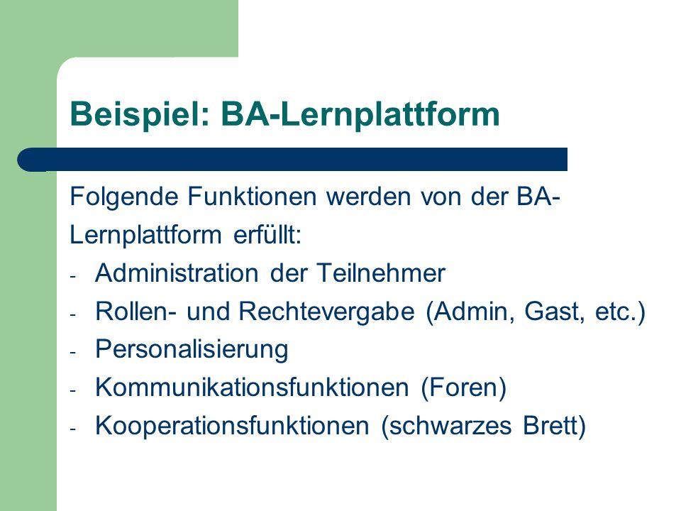 Folgende Funktionen werden von der BA- Lernplattform erfüllt: - Administration der Teilnehmer - Rollen- und Rechtevergabe (Admin, Gast, etc.) - Person