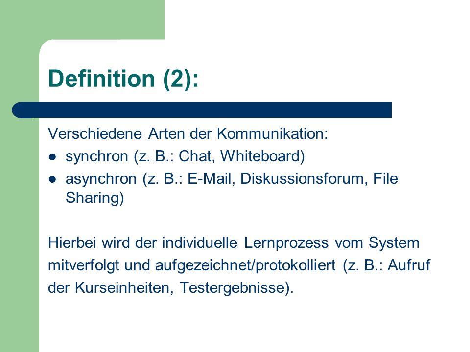 Standards: Um Lerninhalte verschiedener Anbieter in ein LMS integrieren zu können sowie eigene Lerninhalte auch in andere LMS einbinden zu können, wird zunehmend auf die Einhaltung von Standards wie SCORM (Sharable Content Object Reference Model), AICC (Aviation Industry CBT Committee), LOM (Learning Object Metadata) gesetzt.