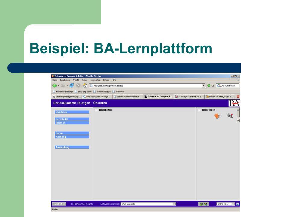 Folgende Funktionen werden von der BA- Lernplattform erfüllt: - Administration der Teilnehmer - Rollen- und Rechtevergabe (Admin, Gast, etc.) - Personalisierung - Kommunikationsfunktionen (Foren) - Kooperationsfunktionen (schwarzes Brett)