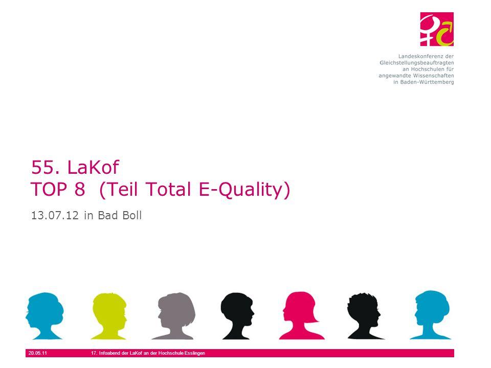 20.05.1117. Infoabend der LaKof an der Hochschule Esslingen 55. LaKof TOP 8 (Teil Total E-Quality) 13.07.12 in Bad Boll