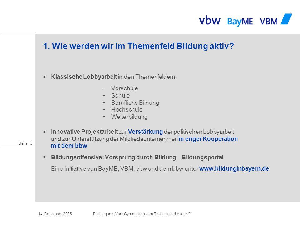 Seite 2 14. Dezember 2005Fachtagung Vom Gymnasium zum Bachelor und Master? 1. Wer wir sind Regensburg München Augsburg Nürnberg Coburg Würzburg vbw: b