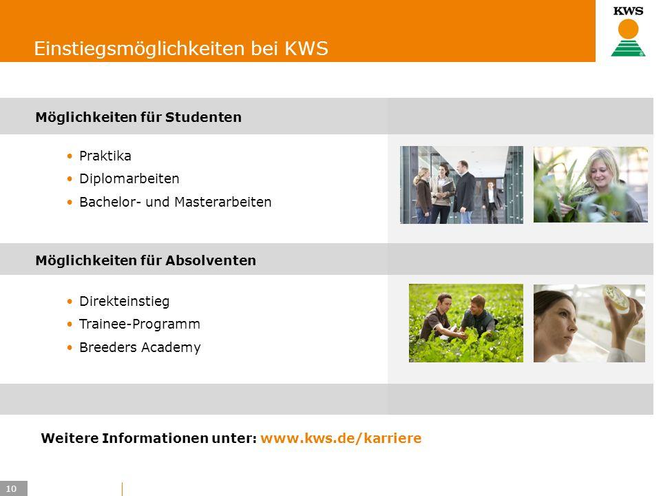 10 KWS UK-LT/HO Einstiegsmöglichkeiten bei KWS Möglichkeiten für Studenten Praktika Diplomarbeiten Bachelor- und Masterarbeiten Möglichkeiten für Abso