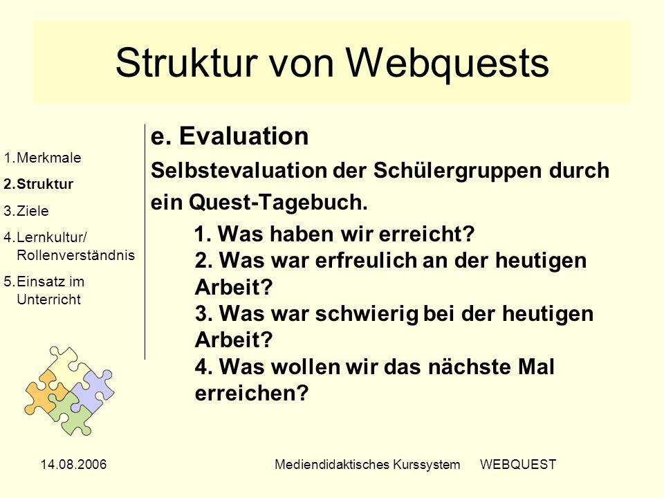 14.08.2006Mediendidaktisches Kurssystem WEBQUEST Struktur von Webquests e. Evaluation Selbstevaluation der Schülergruppen durch ein Quest-Tagebuch. 1.