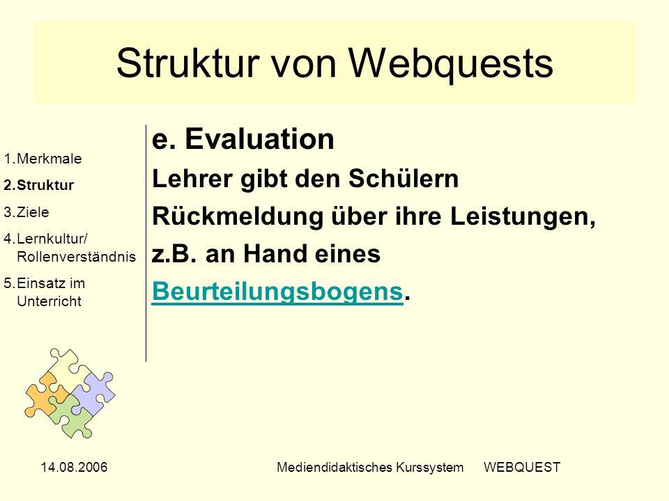 14.08.2006Mediendidaktisches Kurssystem WEBQUEST Struktur von Webquests e. Evaluation Lehrer gibt den Schülern Rückmeldung über ihre Leistungen, z.B.