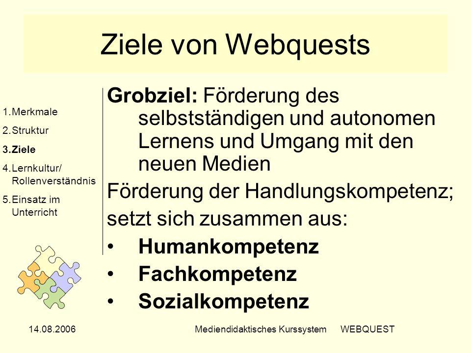 14.08.2006Mediendidaktisches Kurssystem WEBQUEST Ziele von Webquests Grobziel: Förderung des selbstständigen und autonomen Lernens und Umgang mit den