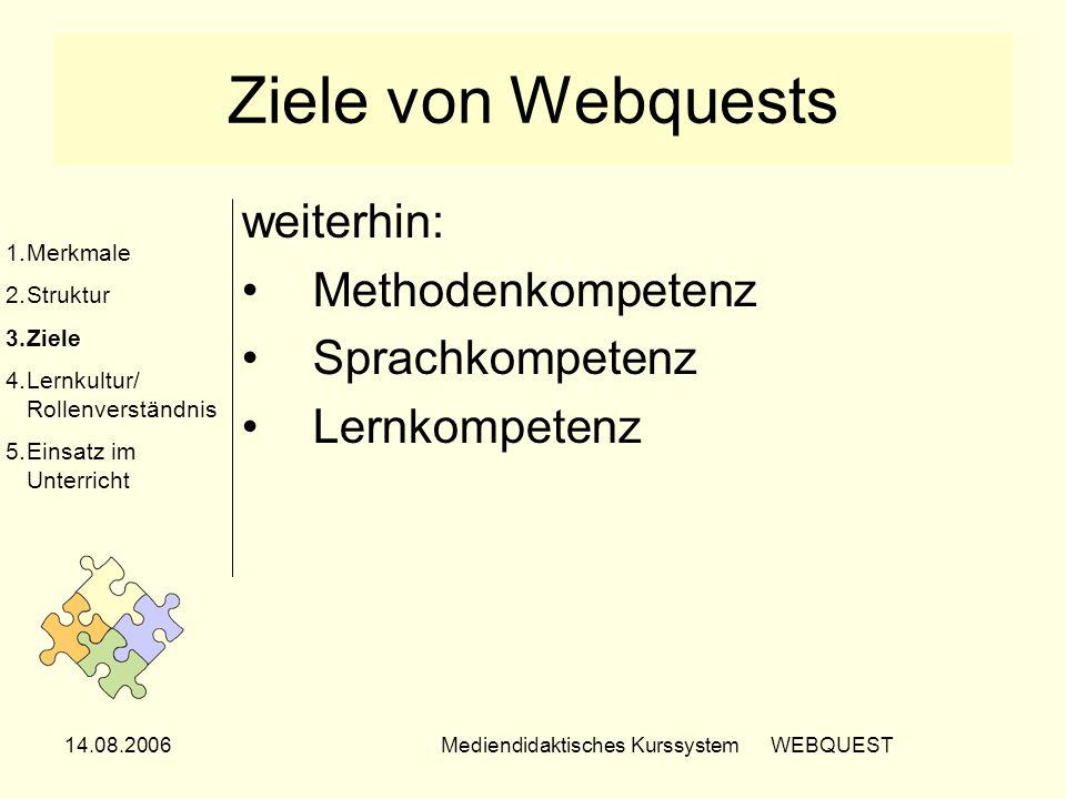 14.08.2006Mediendidaktisches Kurssystem WEBQUEST Ziele von Webquests weiterhin: Methodenkompetenz Sprachkompetenz Lernkompetenz 1.Merkmale 2.Struktur
