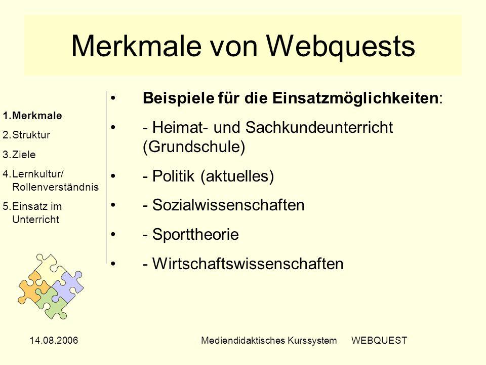 14.08.2006Mediendidaktisches Kurssystem WEBQUEST Merkmale von Webquests Beispiele für die Einsatzmöglichkeiten: - Heimat- und Sachkundeunterricht (Gru