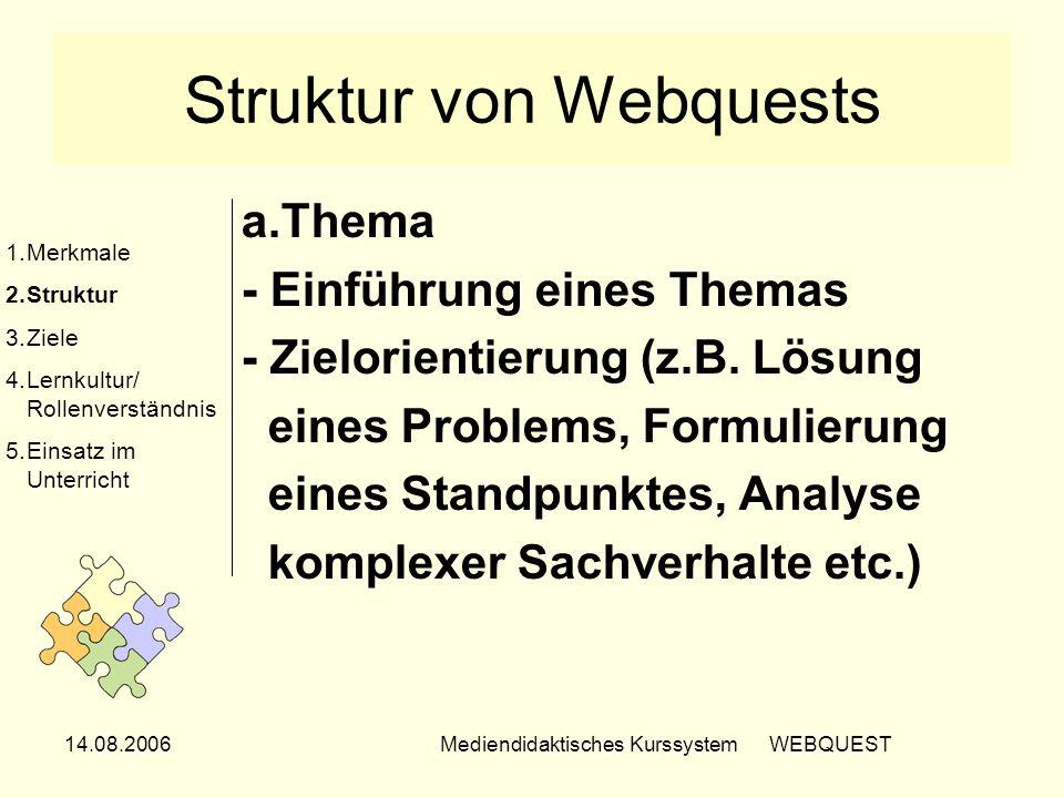14.08.2006Mediendidaktisches Kurssystem WEBQUEST Struktur von Webquests a.Thema - Einführung eines Themas - Zielorientierung (z.B. Lösung eines Proble