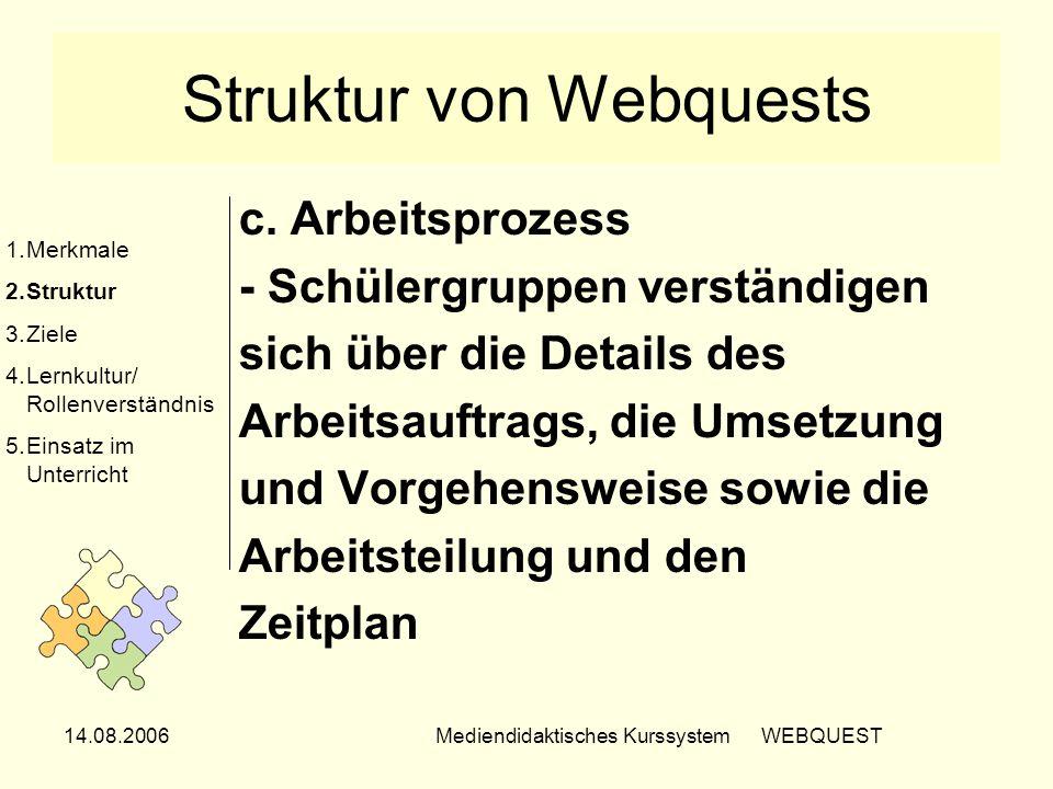14.08.2006Mediendidaktisches Kurssystem WEBQUEST Struktur von Webquests c. Arbeitsprozess - Schülergruppen verständigen sich über die Details des Arbe