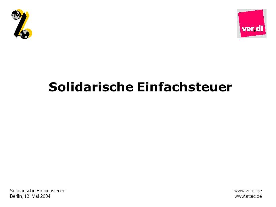 Solidarische Einfachsteuer Berlin, 13. Mai 2004 www.verdi.de www.attac.de Solidarische Einfachsteuer