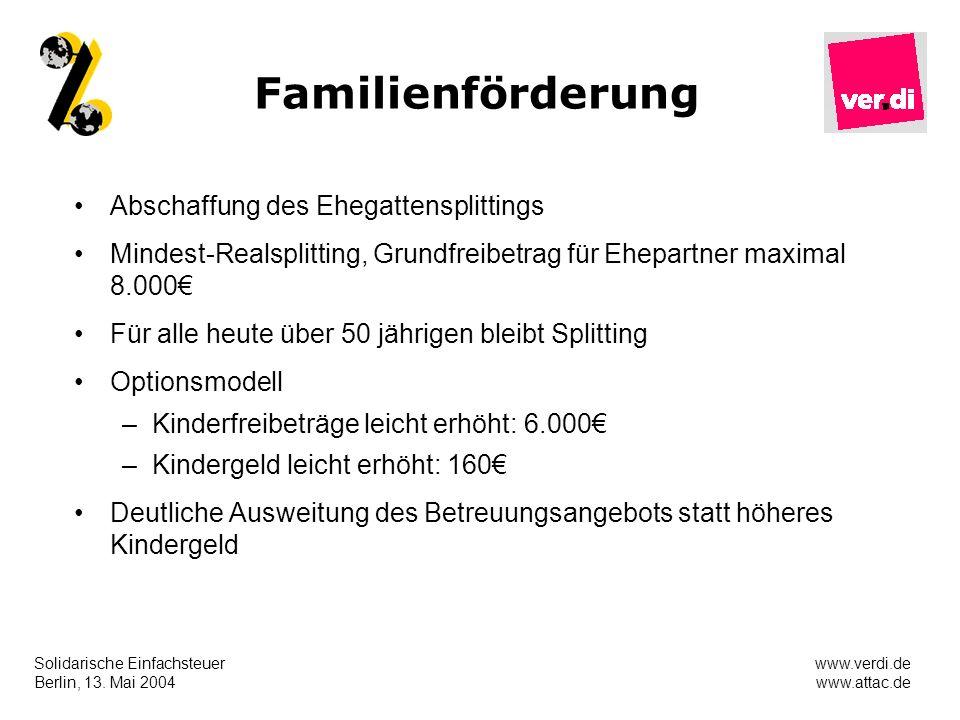 Solidarische Einfachsteuer Berlin, 13. Mai 2004 www.verdi.de www.attac.de Familienförderung Abschaffung des Ehegattensplittings Mindest-Realsplitting,