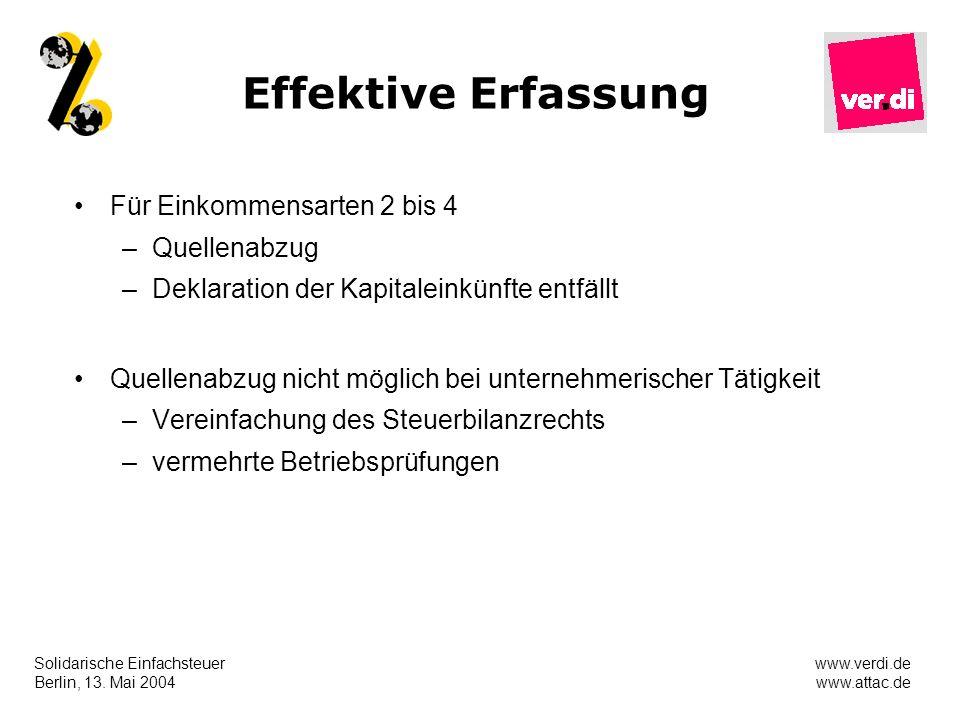 Solidarische Einfachsteuer Berlin, 13. Mai 2004 www.verdi.de www.attac.de Effektive Erfassung Für Einkommensarten 2 bis 4 –Quellenabzug –Deklaration d